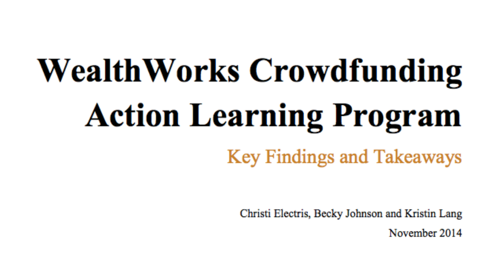 WealthWorks Crowdfunding Action Learning Program