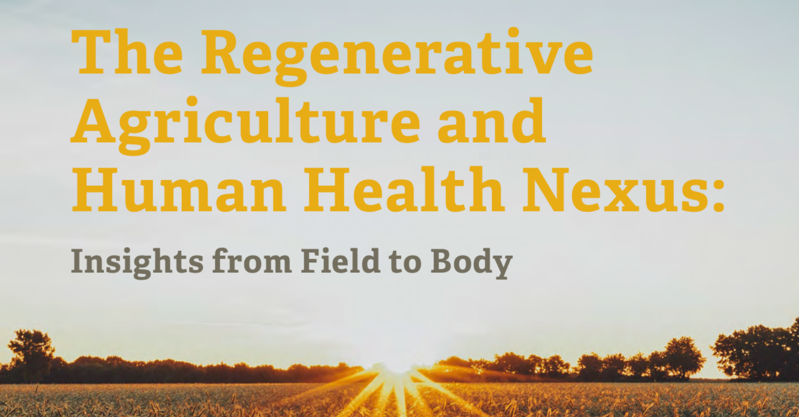 New Report on the Regenerative Agriculture and Human Health Nexus